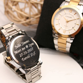Ladies Engraved Wrist Watch Silver And Gold