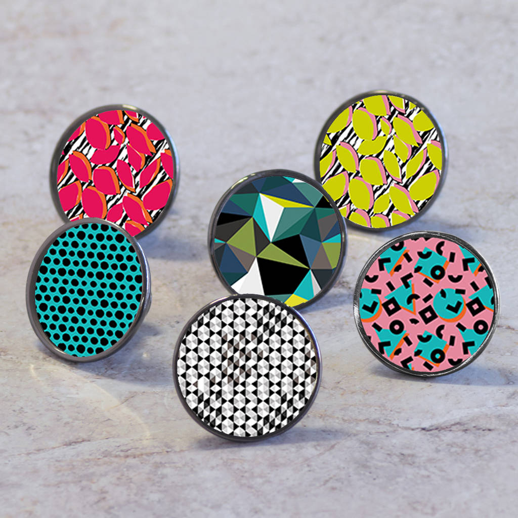 colourful geometric cupboard door knobs by pushka home ...