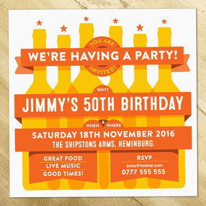 Personalised Birthday Party Invitations 'Wine Bottles' - winter sale