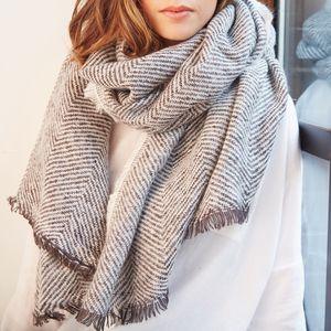 Personalised Herringbone Weave Wrap Scarf - accessories stocking fillers