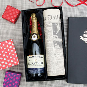 Personalised Champagne And Newspaper Set