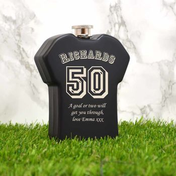 Personalised Hip Flask With A Football Shirt