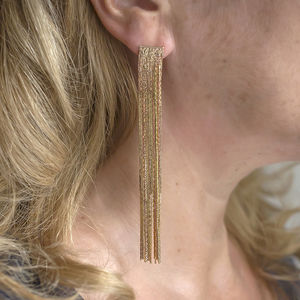 Long Gold Multi Strand Statement Earrings