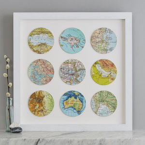 Nine Map Circle Personalised Wedding Anniversary Print - posters & prints