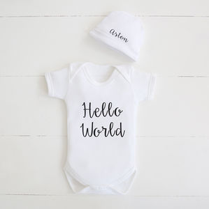 Personalised Hello World Bodysuit And Hat Set - baby shower gifts