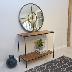 Industrial Console Table With Wood And Metal