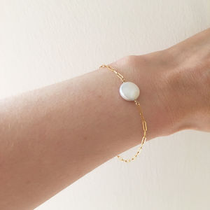 Gold Filled White Coin Pearl Bracelet