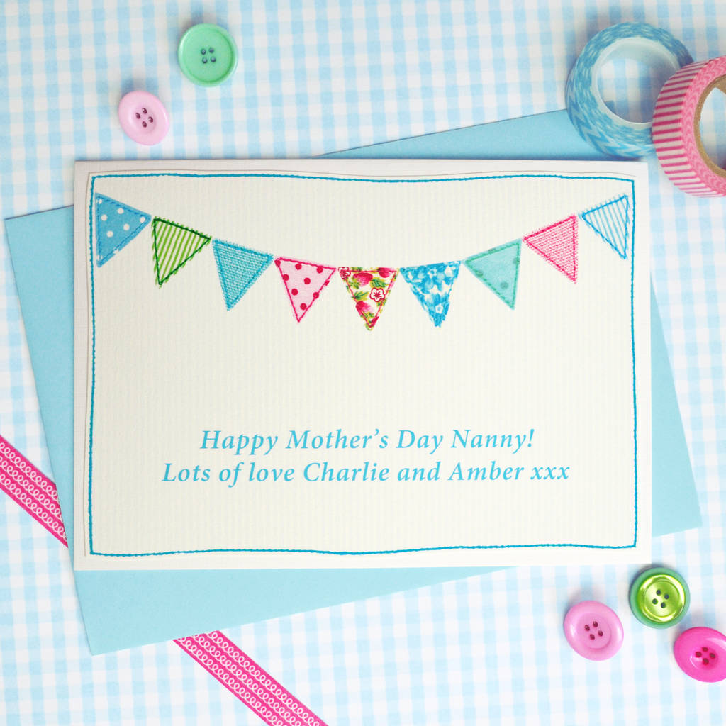 'Bunting' Personalised Birthday Or Mothers Day Card