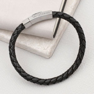 Personalised Hexagonal Clasp Leather Bracelet