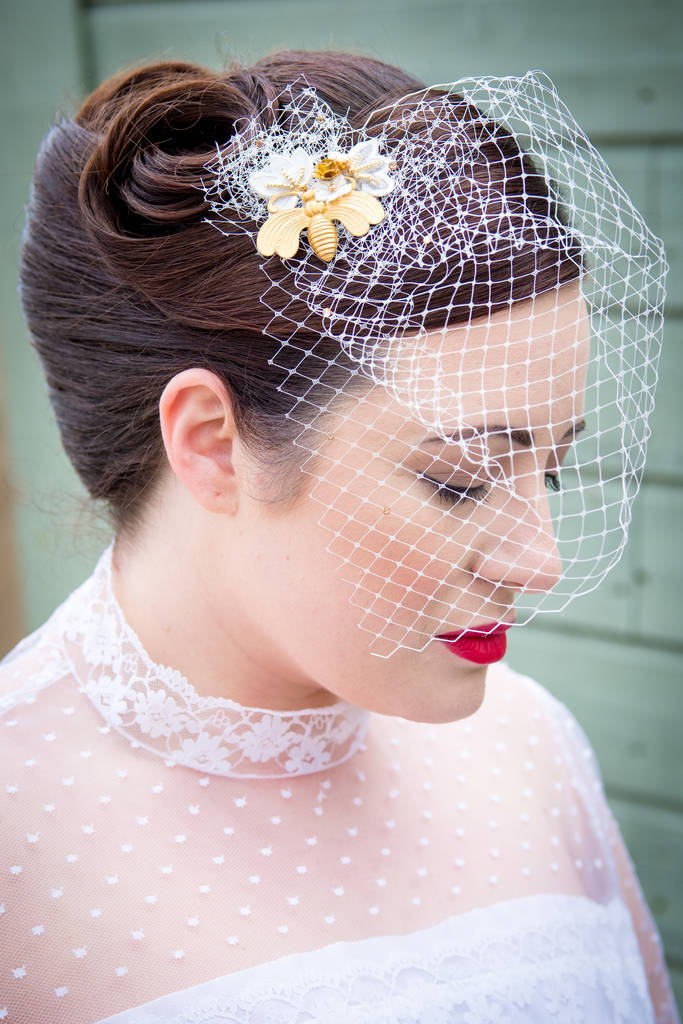 Gold Bee And Flower Birdcage Wedding Veil
