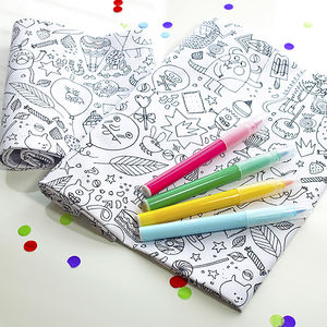 Kids Colour In Fabric And Pens