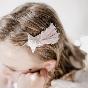 Silver Leather Star Hairclip - gifts for children
