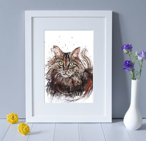 'Moggy' Cat Wall Art Print - baby's room