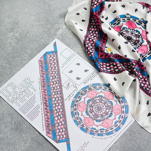 Elephant Print Silk Scarf Colouring Kit - clothing & accessories