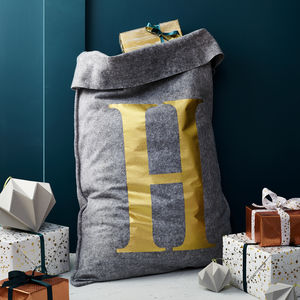 Personalised Grey Felt 'Initial' Christmas Sack
