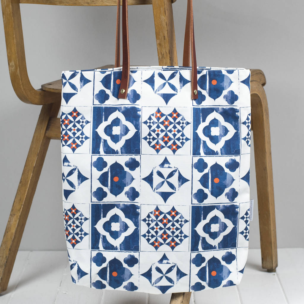 Marisol Tote Bag, Blue And Orange Pattern