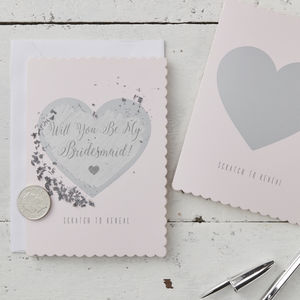Pink Will You Be My Bridesmaid Scratch To Reveal Cards - invitations