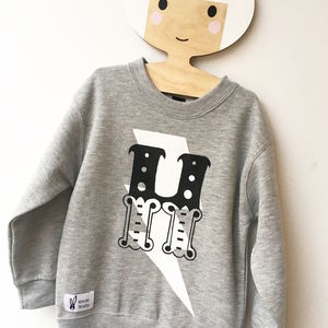 Kids Unisex Grey Personalised Superhero Sweatshirt - clothing