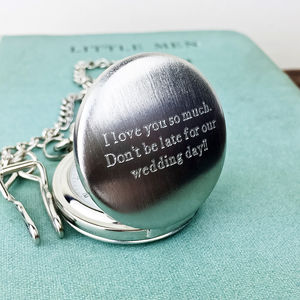 Pocket Watch With Personalised Engraved Message - personalised