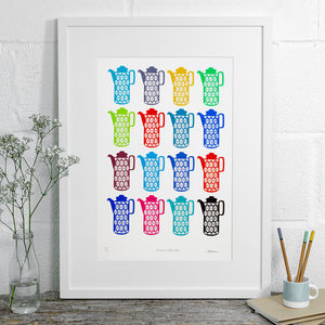 Heirloom Coffee Pots Limited Edition Screen Print - food & drink prints
