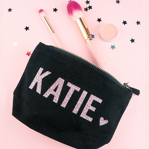 Personalised Name Glitter Make Up Bag