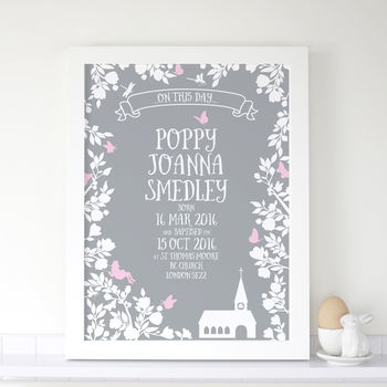 Personalised Girls Christening Midsummer Print