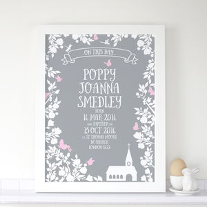 Personalised Girls Christening Midsummer Print - dates & special occasions