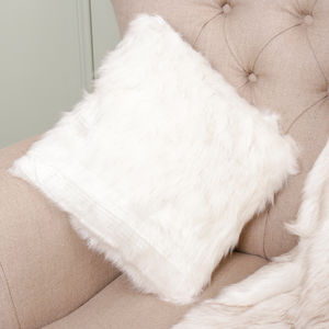 Snow Wolf Alaskan Faux Fur Cushion - cushions