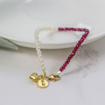 Personalised Red Garnet, Pearl And Gold Bracelet