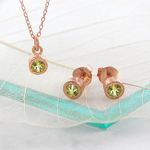 August Birthstone Peridot Rose Gold Jewellery Set