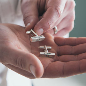 Personalised Sterling Silver Bar Cufflinks - gifts for him
