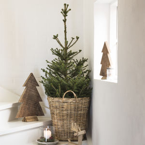 Natural Rattan Christmas Tree Basket - living room