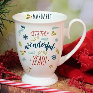 Bone China Wonderful Time Of The Year Personalised Mug