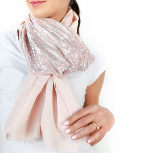 Ladies Cocktail Hour Sequin Scarf, Pink, Custom Colours