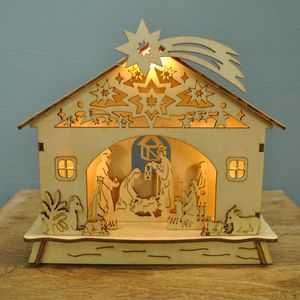 Wooden Nativity Light Decoration - christmas decorations