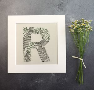 Framed Embroidered Botanical Initial - typography