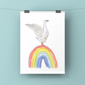 Goose And Rainbow Art Print