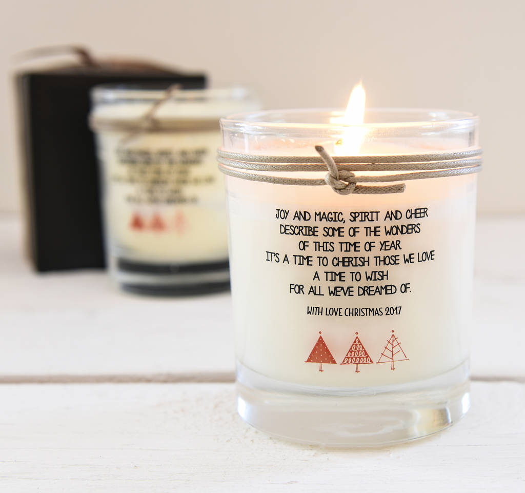 Personalised Scented Christmas Candle With Verse