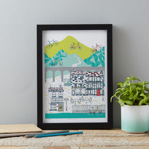 Cycling Illustrative Poster Print - home sale