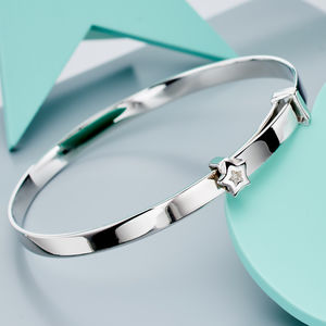 'Inez' Diamond Star Christening Bangle