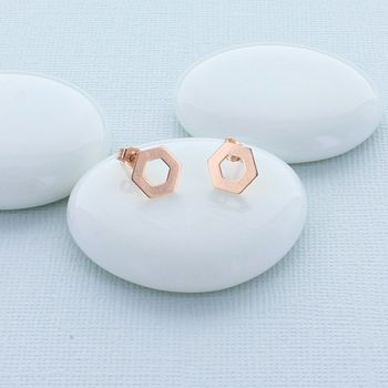 Hexagonal Rose Gold Studs