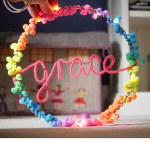Personalised Pom Pom Fairy Light Hoop Gift For Girl