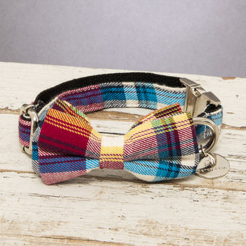 The Marple Red Checked Dog Collar Bow Tie