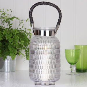 Ridged Glass Hurricane Candle Lantern