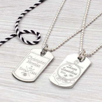 Personalised Nautical Sterling Silver Dog Tag Necklace