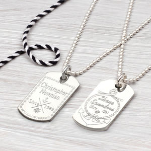 Personalised Nautical Sterling Silver Dog Tag Necklace - necklaces