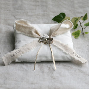 Personalised Wedding Ring Bearer Cushion - wedding ring pillows