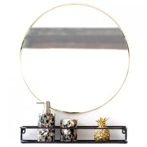 Round Gold Edged Mirror - living room