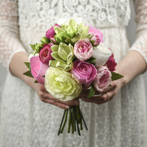 A Posy Of Paper Roses And Faux Ranunculus