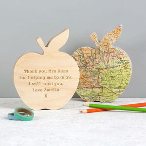 Personalised Map Teachers Gift Apple Ornament - gifts for teachers